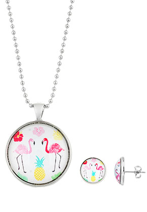 www.snowfall-beads.com - Set of necklace and ear studs with flamingo print