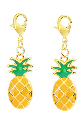 www.snowfall-beads.be - Metalen hanger ananas met slotje 40x11mm