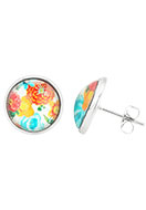 www.snowfall-beads.com - Stainless steel ear studs with flowers 16x14mm - J05249