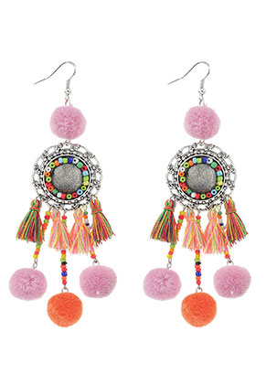 www.snowfall-beads.com - Earrings with tassels and pompoms 11,5x3cm