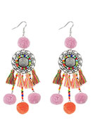www.snowfall-beads.com - Earrings with tassels and pompoms 11,5x3cm - J05294