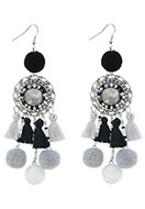 www.snowfall-beads.com - Earrings with tassels and pompoms 11,5x3cm - J05295