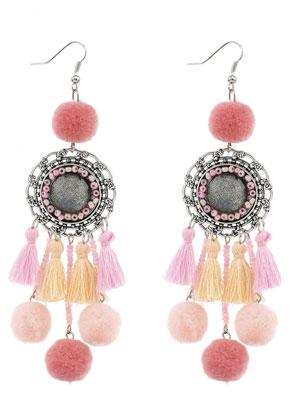 www.snowfall-beads.nl - Oorbellen met kwastjes en pompon balletjes 11,5x3cm