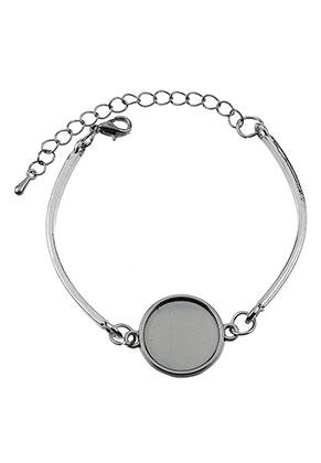 www.snowfall-beads.nl - Metalen armband met kastjes voor 16mm plaksteen