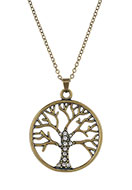 www.snowfall-beads.com - Necklace with pendant tree with strass 45-51cm - J05560