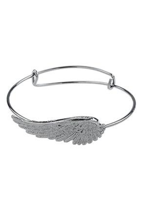 www.snowfall-beads.nl - Charm bangle armband met vleugel 21cm