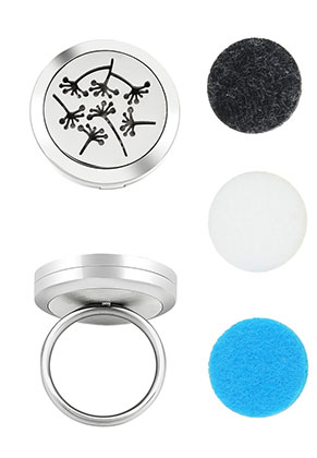 www.snowfall-beads.com - Stainless steel perfume locket ring set DQ Ø 18mm
