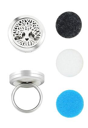 www.snowfall-beads.com - Stainless steel perfume locket ring set DQ Ø 18mm