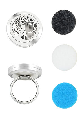 www.snowfall-beads.com - Stainless steel perfume locket ring set DQ Ø 16,5mm