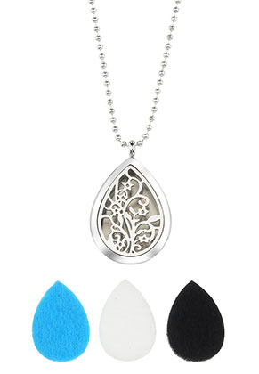 www.snowfall-beads.nl - Roestvrijstalen parfum medaillon halsketting set DQ 80cm