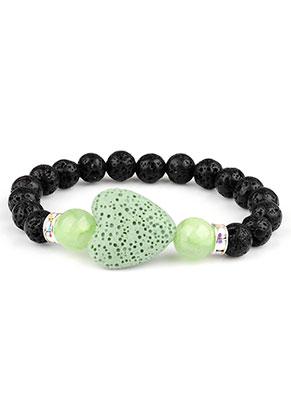 www.snowfall-beads.be - Natuursteen armband lavasteen/Pelelith hartje 17cm