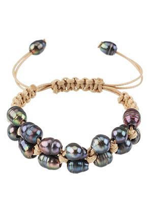 www.snowfall-beads.be - Armband met waxkoord en zoetwaterparels 15-24cm