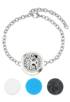 www.snowfall-beads.nl - Roestvrijstalen parfum medaillon armband set DQ 17-23cm