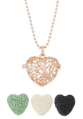 www.snowfall-beads.co.uk - Brass perfume Prayer Box necklace set heart 80cm