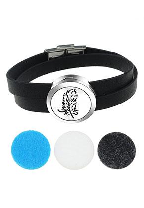 www.snowfall-beads.com - Imitation leather perfume locket bracelet set DQ 19cm