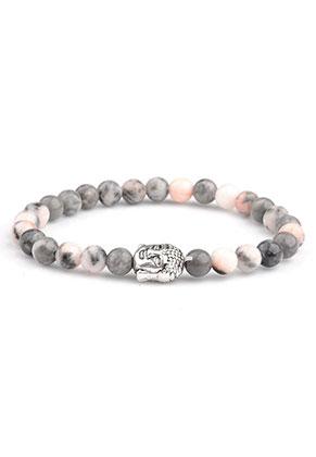 www.snowfall-beads.com - Natural stone bracelet Pink Zebra Jasper with Buddha 17cm