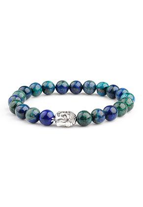 www.snowfall-beads.nl - Natuursteen armband Cuprite met Boeddha 17cm