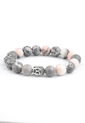 www.snowfall-beads.com - Natural stone bracelet Pink Zebra Jasper with Buddha 16,5cm