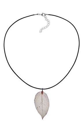 www.snowfall-beads.com - Necklace with pendant leaf 45-50cm