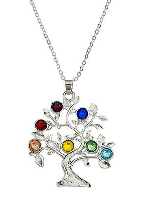 www.snowfall-beads.es - Collar con árbol Rainbow Chakra 45-50cm