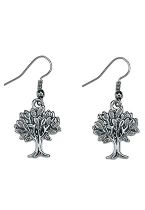 www.snowfall-fashion.de - Metall Ohrringe Baum 40x17mm