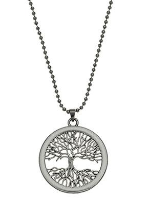 www.snowfall-beads.fr - Collier avec pendentif arbre 80cm