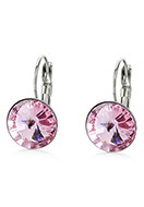 www.snowfall-beads.com - Stainless steel snap earrings with strass 22x13mm - J05868