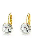 www.snowfall-beads.com - Brass snap earrings with strass 22x13mm - J05876