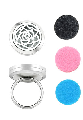 www.snowfall-beads.com - Stainless steel perfume locket ring set DQ Ø 17mm