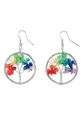 www.snowfall-beads.de - Rainbow Chakra Ohrringe mit Baum 52x30mm