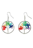 www.snowfall-beads.com - Rainbow Chakra earrings with tree 52x30mm - J05903