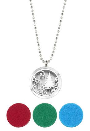 www.snowfall-beads.nl - Roestvrijstalen DoubleBeads EasySwitch parfum medaillon halsketting set DQ 80cm