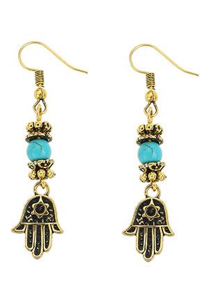 www.snowfall-beads.fr - Boucles d'oreilles en métal avec main de Fatima 55x12mm