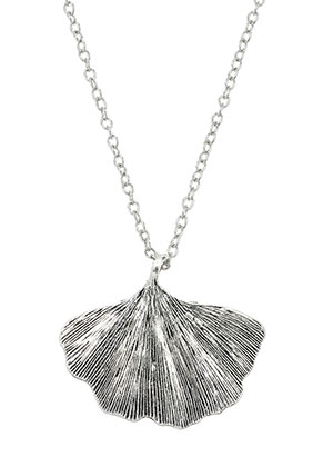 www.snowfall-beads.com - Necklace with pendant ginkgo leaf 45-50cm