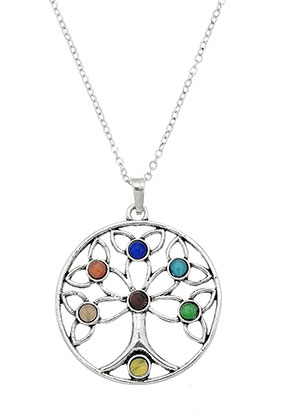 www.snowfall-beads.co.uk - Necklace with Rainbow Chakra tree 45-50cm