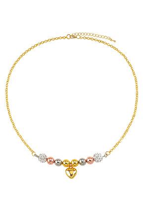 www.snowfall-perles.be - Collier en métal avec breloque coeur 50-55cm