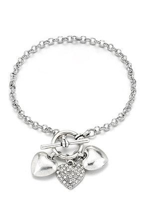www.snowfall-beads.nl - Metalen armband met bedels hartje 20cm