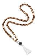 www.snowfall-beads.com - Mala necklace with tassel 74cm - J06086