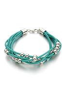www.snowfall-beads.fr - Bracelet en cuir avec perles en metal look 18-23cm - J06252