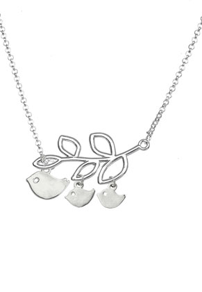 www.snowfall-beads.com - Necklace with birds and branch 48-53cm