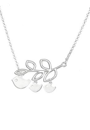 www.snowfall-beads.fr - Collier avec oiseaux et branche 48-53cm
