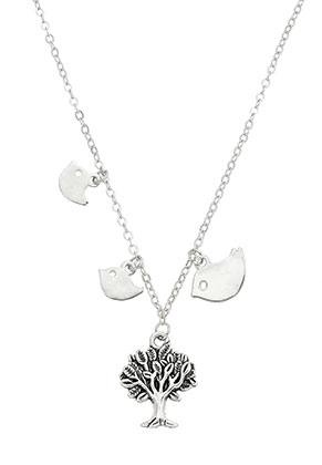www.snowfall-beads.co.uk - Necklace with pendants tree and birds 45-50cm
