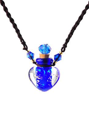 www.snowfall-beads.nl - Halsketting met glazen flesje 50-70cm