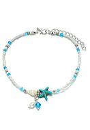 www.snowfall-perles.be - Bracelet de cheville avec coquillage et étoile de mer 25-29cm - J06484