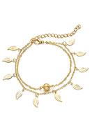 www.snowfall-perles.be - Bracelet/bracelet avec breloques feuilles 21,5-28cm - J06487