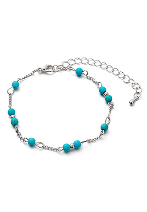 www.snowfall-beads.com - Bracelet/anklet with natural stone Turquoise Howlite 17,5-24cm