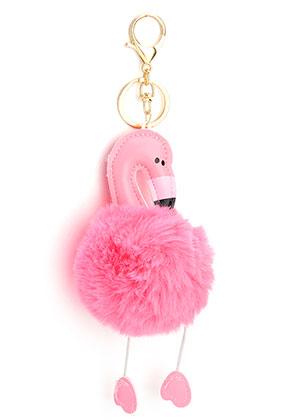 www.snowfall-beads.nl - Sleutelhanger met pluizenbol flamingo