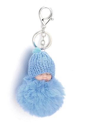 www.snowfall-beads.nl - Sleutelhanger met pluizenbol baby