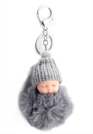 www.snowfall-fashion.co.uk - Key fob with fluff ball baby - J06578