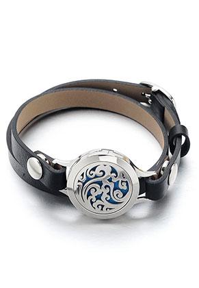 www.snowfall-beads.be - Imitatieleren parfum medaillon armband DQ 15-18cm